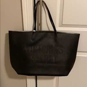 Victoria's Secret black leather like bag NWT NEW!